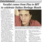 Vocalist Emiliano Loconsolo comes from Pisa to BRT to celebrate Italian Heritage Month